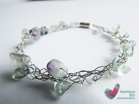 Crochet wire bracelet - natural stone beads, fluorite chip beads ...